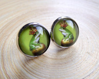 Earrings Frog King Stainless steel version frog silver 10mm cabochon