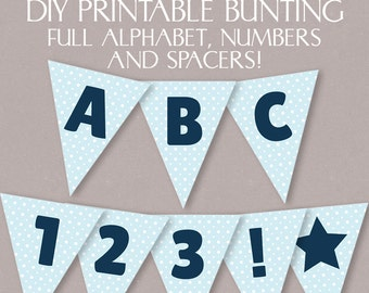 Blue Printable Bunting DIY banner with full alphabet, custom birthday bunting, blue polka dot banner, diy birthday banner digital download