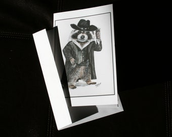 Large  Funny Western Bandit Raccoon Card with envelope. Water color, colour. Pen and ink. Fine art card. Blank or Mother's day, Father's day