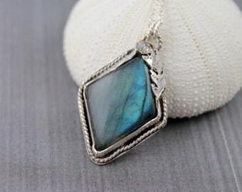 Labradorite necklace blue flash labradorite pendant necklace sterling silver necklace bezel set gemstone necklace statement necklace Ne48