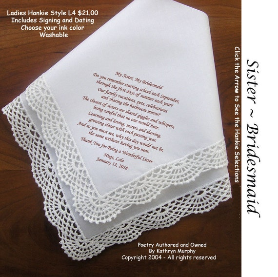 Wedding Gift For Sister Of The Bride : Sister of the Bride Gift Hankie 1003~ 5 Wedding Hankie Styles ~ Sign ...