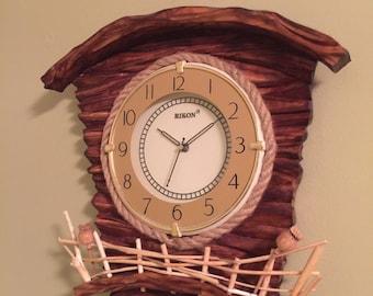 Wooden clock, cornwall clock, quartz wall clock, wintage clock