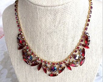 Gorgeous Vintage Juliana Style Red Rhinestone Necklace elongated Navettes and Red Aurora Borealis stones.  Lovely striking saturated colors