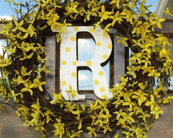 Spring is Here Grape Vine Wreath with Letter
