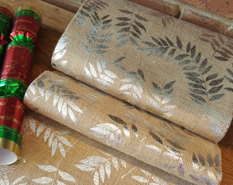 Rustic Christmas New Years Burlap Gold & Silver Hessian Table Runner Party Decor
