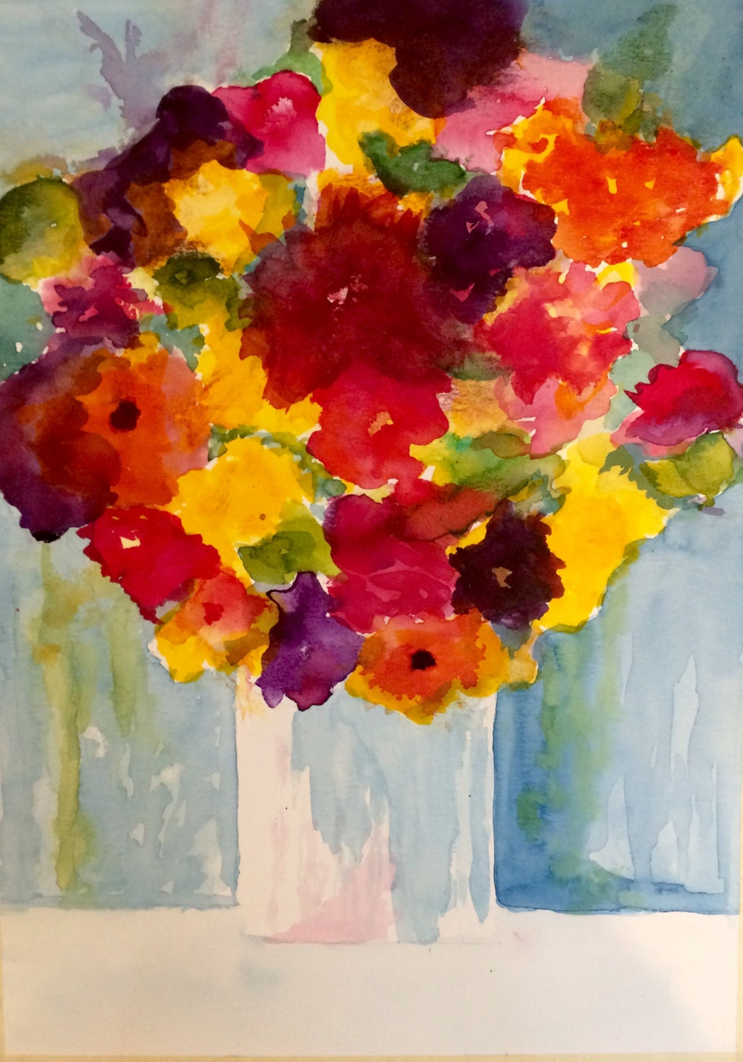 Watercolor greeting cards vase of flowers 5x7 single cards or sets gallery photo kristyandbryce Gallery