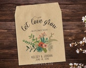Wedding Seed Favors, Wedding Seed Packet, Seed Packet Favor, Let Love Grow, Rustic Wedding, Wildflower Seeds, Bridal Shower Favor x 25