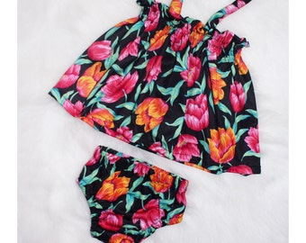 Bright Floral Halter Swing Top & Matching Bloomers Baby Set