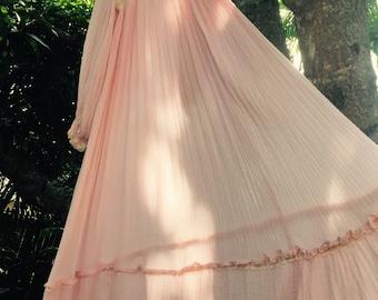 Vintage 70's gauze cotton maxi dress