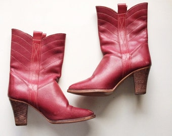 Vinage Red Leather Cowboy Boots// Womens vintage boots