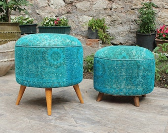 Boho Furniture, Round Ottoman, Upholstered Ottoman in Overdyed Rug, Teal, Bohemian Furniture/IN STOCK