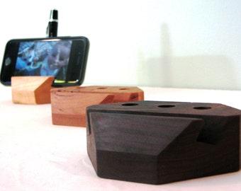 Handmade Wood iPhone Holders - Smartphone Holders - Desk Organizers - Walnut, Maple, Cherry Woods - Type 2