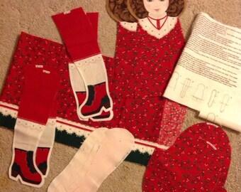 Vintage Holly Fabric Doll Cut Sew Stuff Christmas