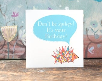 Hedgehog birthday card, a blank card for any occasion, personalised with your choice of birthday or other greeting on the front, Moobaacluck