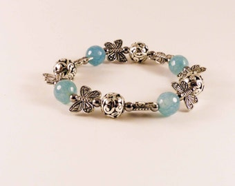 Butterflies and Blue Agate Stretch Bracelet