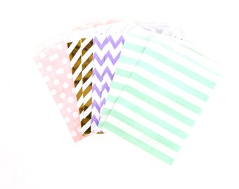 Mythical Tales Treat Bags in Chevron Dot and Stripe , Mint Pink and Purple Treat Bags, Silver Popcorn Glitter Girls Birthday Party