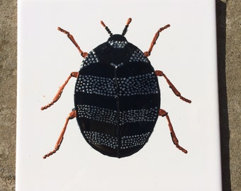 Ceramic Tile Painting. Original. Silver and Black spotty bug beetle creepie crawley insect plaque