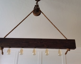 Rustic Beam Chandelier hung by Vintage Pulley, Free Shipping