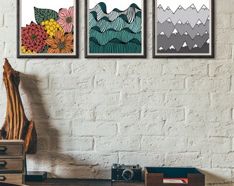 Wall Print Set- Ralph Waldo Emerson Nature Quote Color