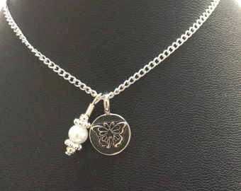 Butterfly charm pendant necklace in silver.....