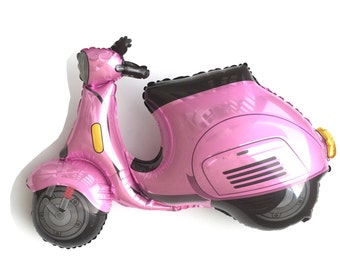 """Scooter Balloon, 38"""", Pink, Red, Vespa, Moped Balloon, Paris, Paris Party, Baby Shower, Bridal Shower"""