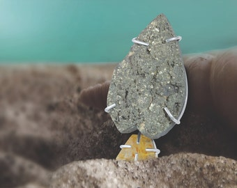 Pyrite and Rutile pendant in sterling silver, FREE SHIPPING