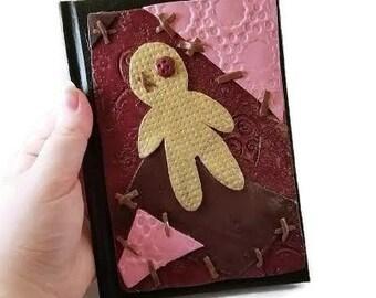 Voodoo doll journal, Voodoo doll, journal, hardbound journal, polymer clay journal, polymer clay, voodoo, custom journal, notebook, diary