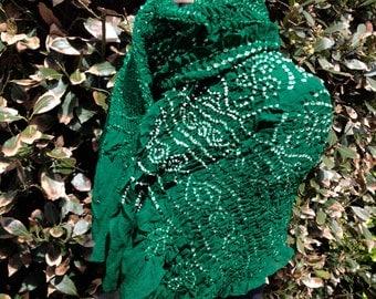 silk crepe bandhani tie-dye textured scarf stole handmade white green boho unique shibori