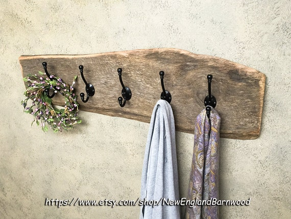 Country Bathroom Towel Rack Wooden Entryway Wall Coat Rack