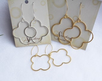 "Quatrefoil Clover Earrings Gold and Silver Three Large Sizes 1 3/4"", 2"", and 2 1/2"" to Choose From"