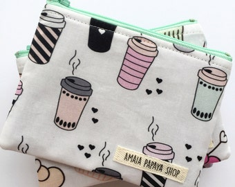 Coffee Mug Pouch, Coin Purse, Zipper Pouch, Organization, Wallet, Gifts for her under 15, Chambray