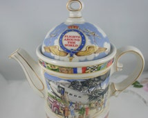 English Teapot by James Sadler, Flights Around The World, Bone China made in England