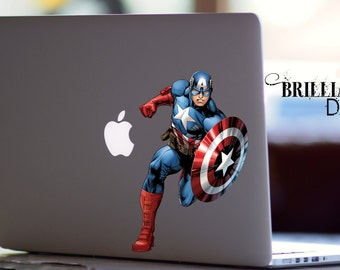Captain America Decal, Captain America Macbook Decal, Captain America Sticker, Captain America, Skin, MacBook Pro Decal, Marvel Comics Decal