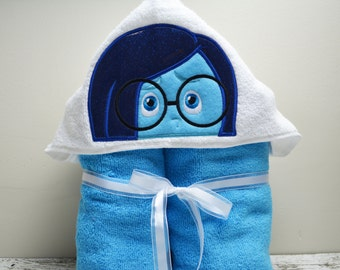 READY TO SHIP Sadness Children's Hooded Towel