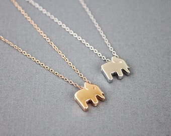 Tiny 925 Sterling Silver Elephant Charm Necklace . Bridesmaid Necklace Bridesmaid Gift Dainty and Simple Necklace Birthday Gift