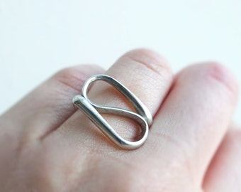 Sterling silver ring. Made from one wire. Minimalist and Modernist. Free Shipping