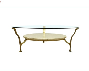 10% Off Sale! Vintage Hollywood Regency Marble Brass & Glass Mid Century Modern Coffee Table