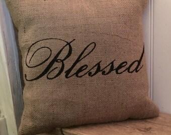 Blessed Pillow, Burlap Pillow, Rustic Decor, Decorative Pillow