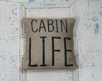 Cabin Life, Burlap Pillow, Rustic Decor, Decorative Pillow
