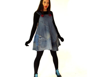 Denim Dress, short funky dress out of recycled jeans, upcycled jeans tunic, blue jeans patchwork dress, hobo dress, OOAK, unique boho top