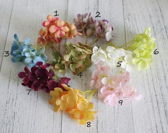 6 Bunches-96 Blossoms Silk Hydrangea Flower Artificial Flower Wedding Headpiece Bouquet Wedding Decoration Flower Crown Hydrangea Wreath