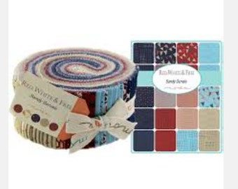 Red White & Free Jelly Roll by Sandy Gervais for Moda Fabrics