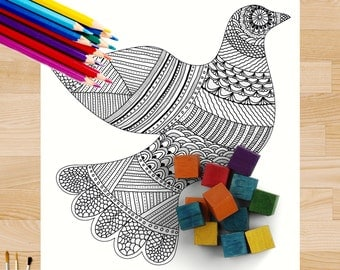 Whimsical Dove Coloring Page #0136