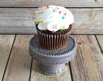 Purple Ceramic Cupcake Stand, Pottery, Cake Stand, Pedestal