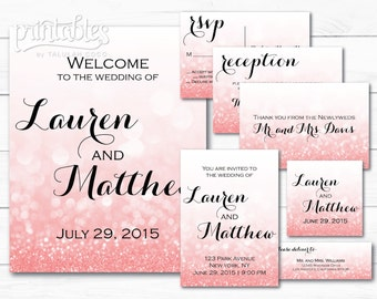 Chic Wedding Invitation Suite, Blush Pink Wedding Invitations, with Details Cards, Pastel Pink Wedding Invite, Custom Glitter Invitation Set