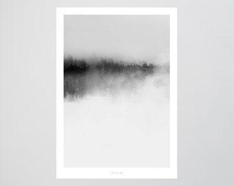 Landscape No. 35 / Forest, Fog, Heaven, Fine Art-Print, Wall-Art, Minimal Poster Art, Typography Art, Premium Poster, Kunstdruck Poster