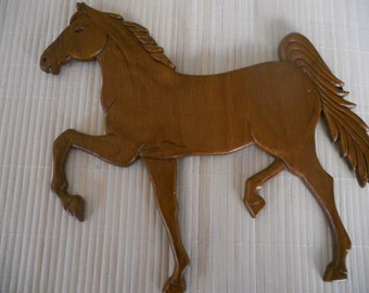 INDEPENDENCE Day SALE 20%off!Vintage Wooden Horse Wall Hanging. Hand Carved Running Wooden Horse. Wall Art. One of a Kind.