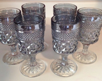 Gray, Lavender, Diamond Point, Stemware, Footed, Wine Glass