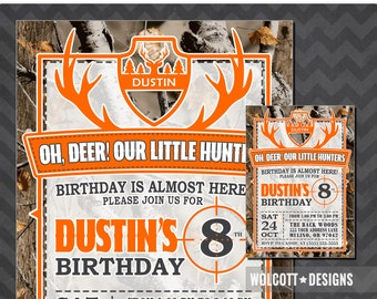 Hunting Birthday Invitations, Little Hunter Birthday Invitation, Hunting Party Invite, Realtree, Camouflage, Camo Invite, Pink Camo