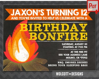 bonfire invitation, camp invitation, bonfire party invitations, smores invitation, bonfire birthday invitations, chalk, instant download